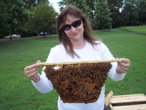 photo of me with bees